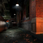 Resident Evil 3 background - Uptown - street along apartment building b - R10D01.png