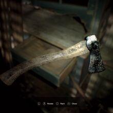 Resident Evil 7 Teaser Beginning Hour axe examine.jpg