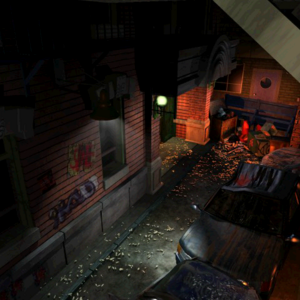 Resident Evil 3 background - Uptown - street along apartment building f - R10D0C.png