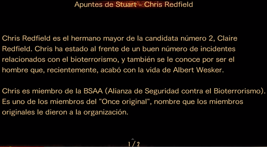 Apuntes de Stuart - Chris Redfield