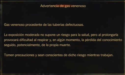 Advertencia de gas venenoso