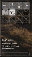 RESIDENT EVIL 7 biohazard Driver's License inventory