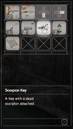RESIDENT EVIL 7 biohazard Scorpion Key inventory