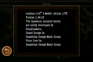 Resident Evil 4 Mobile Edition Lite - About screen