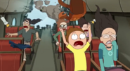 Morty and his girlfriend about to crash