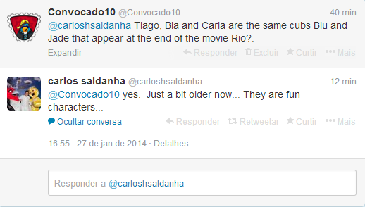 DisneyForever/Carlos Saldanha officially confirmed that Carla, Bia and Tiago are the same cubs Blu and Jewel that appear in the final Rio movie