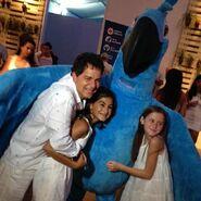 Carlos Saldanha with his family and Blu at Copacabana Réveillion