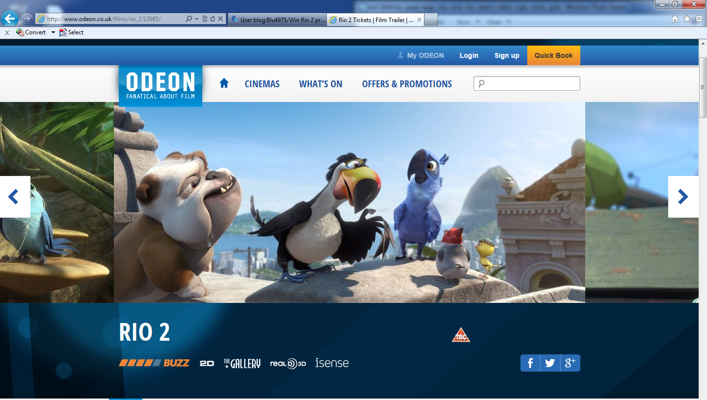 Blu4975/Rio 2 advertised at odeon
