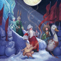 The Guardians in the books: Father Christmas, Easter Bunny, Tooth Fairy, Mother Goose