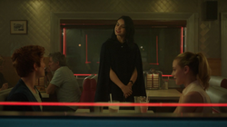 Season 1 Episode 1 The River's Edge Veronica, Archie and Betty at the diner.png