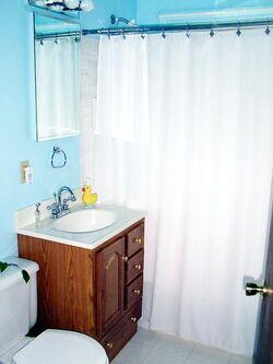 A room with a bath