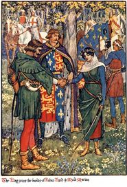 The King joins the hands of Robin Hood and Maid Marian