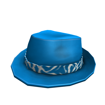 Blue and White Banded Fedora