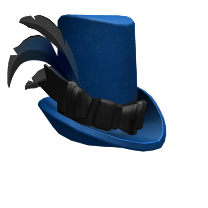 Black Feathered Blue Top Hat