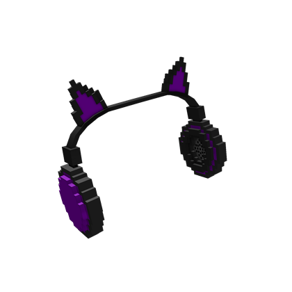 8-Bit Purple Cat Ears Headphones
