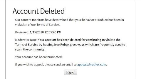 Roblox banned me permanently for this video .