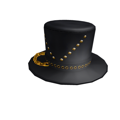 Black Top Hat with Chain