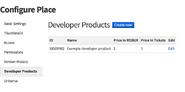 Screenshot of the developer product list