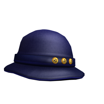 Blue Buttoned Trilby