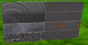 A screenshot of some ROBLOX materials illustrated on parts.
