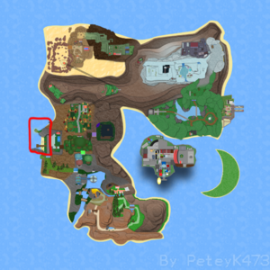 Rosecove Beach on Roria Town Map.