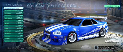 Fast & Furious Nissan Skyline showroom preview