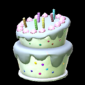 Birthday cake topper icon grey