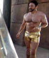Burnie Amazing Race gold shorts