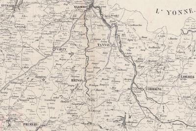 Extrait de la carte routière du département de la Nièvre dressée en 1830. / Source: Bibliothèque nationale de France