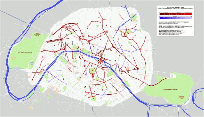 Carte des réalisations urbaines de Paris au 2nd Empire © Wikipédia