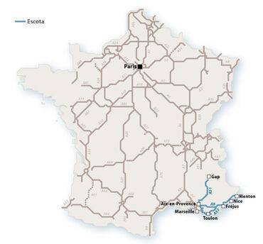 Le réseau Escota en 2010. © Le Baron