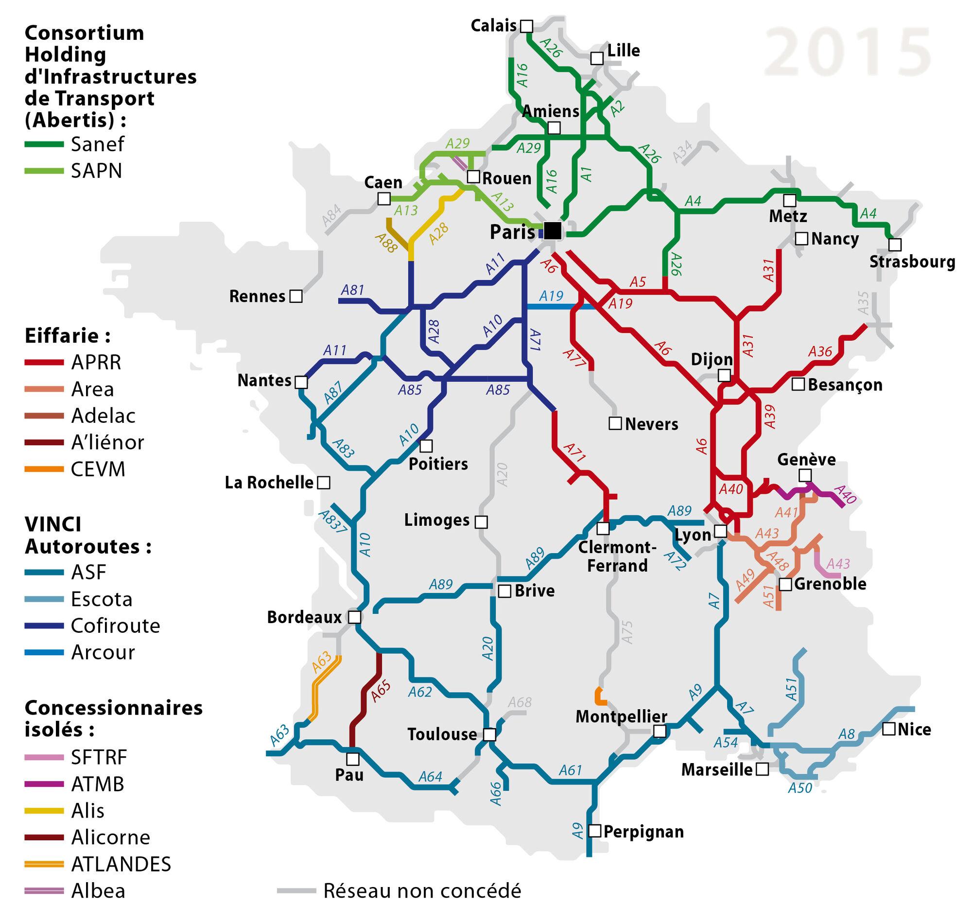 carte des autoroutes en france