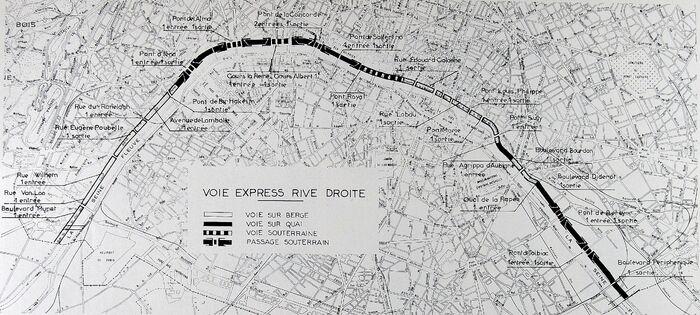 Plan de la Voie Georges Pompidou à Paris. © RGRA 1968