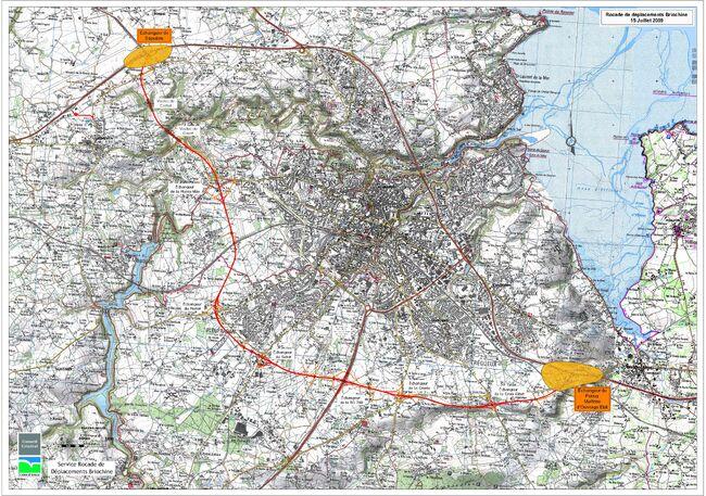 Plan détaillé de la rocade de Saint-Brieuc. © CD22