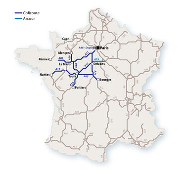 Le réseau Cofiroute en 2010. © Le Baron