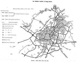Réseau routier long terme Lille 1975