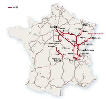 Le réseau APRR en 2010. © Le Baron