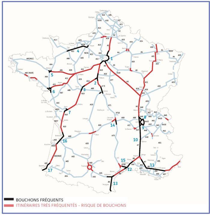 Zones de bouchons fréquents (juillet 2015). © Centre National d'Information Routière