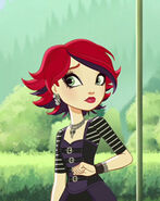 Backgrounder Red and purple headed girl
