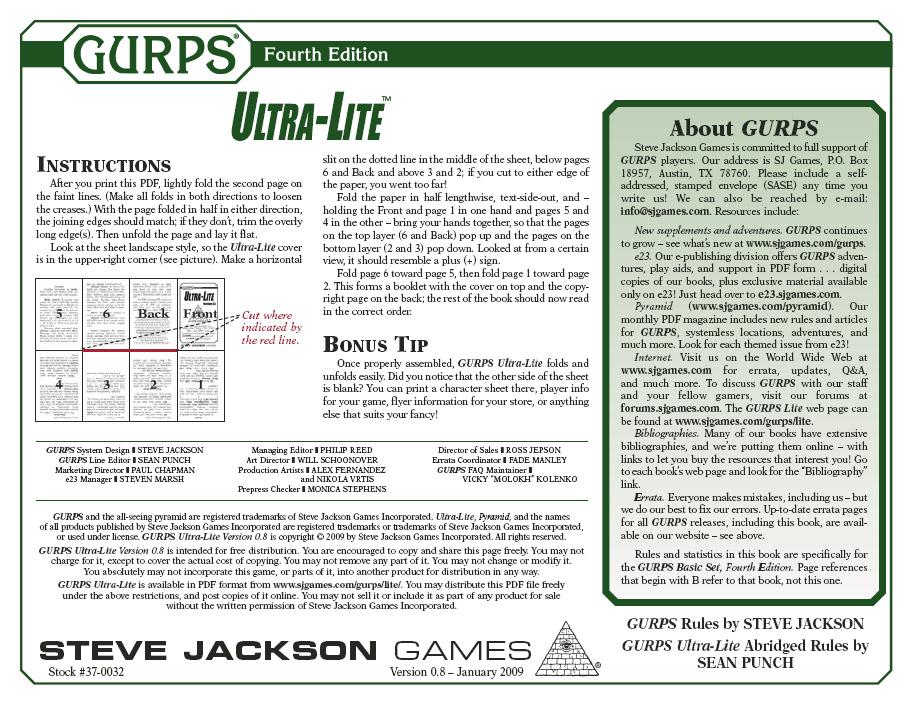 GURPS Ultra-Lite