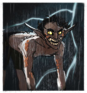 A front facing shot of Hamid, a brown halfling male. He is down on all fours with patches of bronze scales along his skin. His eyes have slited pupils and his mouth is open showing sharp fang-like teeth. There's ridges going down his spine. A bolt of lightning is behind him.