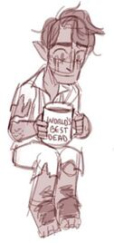 A front facing sketch of Hamid, a halfling male. He is sitting in tattered clothes holding a coffee mug that reads: World's Best Dead. He is looking down.