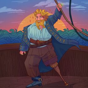 Digital art of Zolf Smith. He is a white dwarf with blonde hair and two braids in his beard. He is wearing a loose-fitting pirate blouse, trousers with one side rolled up over a wooden peg leg, two thick belts, and a long coat. He is standing on the edge of the boat, holding onto rope and smiling. The sun is setting over the sea.