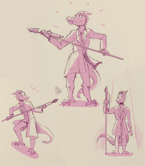 Three drawings of Skraak, a kobold in a lab coat, with their injection spear. In the topmost drawing, they are smiling, standing tall, and proudly holding the spear with both hands. In the lefthand drawing, he is once again holding the spear in both hands, this time in a combat-ready position and a look of alarm on his face. In the righthand drawing, he is standing at attention with a serious expression, holding the spear vertically with one hand, while the other arm hands to his side. All the drawings are in pink, with pale yellow lighting and background.
