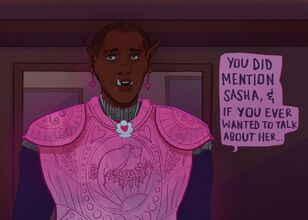 A digital drawing of Azu, a black orc woman with a shaved head. She is in pink armor with black chainmail underneath. She is wearing a shell necklace with a heart in the middle. There's a speech bubble next to her that reads: You did mention Sasha, and if you ever wanted to talk about her...