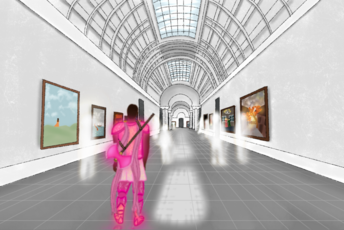 A digital drawing of Azu in a museum. Azu, a black orc woman, is facing away from the viewer. She is dressed in all pink battle armor, her great axe is slung onto her back. She is staring straight ahead down the hallway. The museum has a glass tunnel ceiling, there are various paintings on either side of the white walls. The floor is tiled and a dark grey. There's seven white and blurry human shaped silhouettes in front of her.