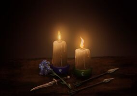 A digital drawing of two lit candles in a dark room. The one on the left has a dagger below it with a forget me not flower laying on top of it. The candle to the right has two arrows laying side by side below it.
