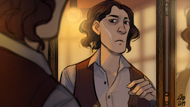 Digital drawing of Wilde, a white human male. He is wearing an unbuttoned red suit vest with a button up white shirt. He is looking at himself in a mirror, the left side of his face has a long white scar running up his cheek. He is frowning and his eyes are focused on it.