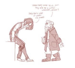 A digital drawing of Wilde and Zolf. Wilde, a human male, is sitting on the side of a desk. He is hunched over and looking at the floor, his hair is cascading over his face. Zolf, a dwarven male, is standing up straight in front of him. His one arm is pointing backwards. A speech bubble from Zolf reads: Whey they come to us just try and be a little warmer, right? a speech bubble from Wilde reads: they don't like it when i'm warm.