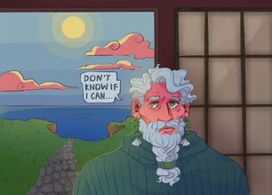 A digital drawing of Zolf, a white dwarven man with short white hair and a white braided beard. Behind him is a seaside cliff with the sun overhead. He is wearing a green turtle neck sweater. He is crying. A speech bubble from him reads: Don't know if i can...